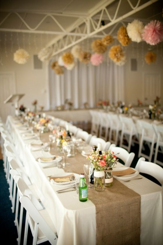 Long tables rustic cottage and poof on pinterest for Long table centerpieces
