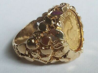 Ebay Advertisement 1982 South African 1 10 Oz Krugerrand Gold Coin 14k Nugget Ring Size 8 12 G Fashion