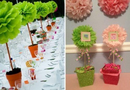 "1Pc Bright Green 10"" Tissue Paper Pom Flower Wedding Bridal Birthday Party Decor"