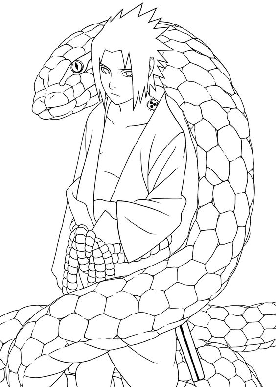 snake naruto coloring pages for kids printable free coloring pages pinterest naruto free and anime