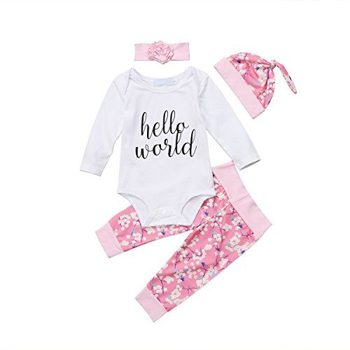 Newborn Baby Girls Floral Tops Romper Long Pants Hat Outfits Clothes 3Pcs Set