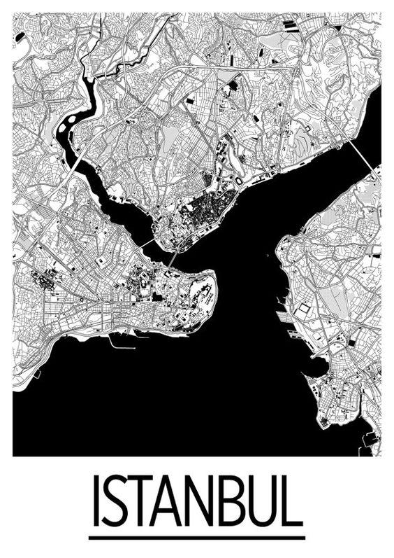 Istanbul Map Poster - turkey Map Print - Art Deco Series