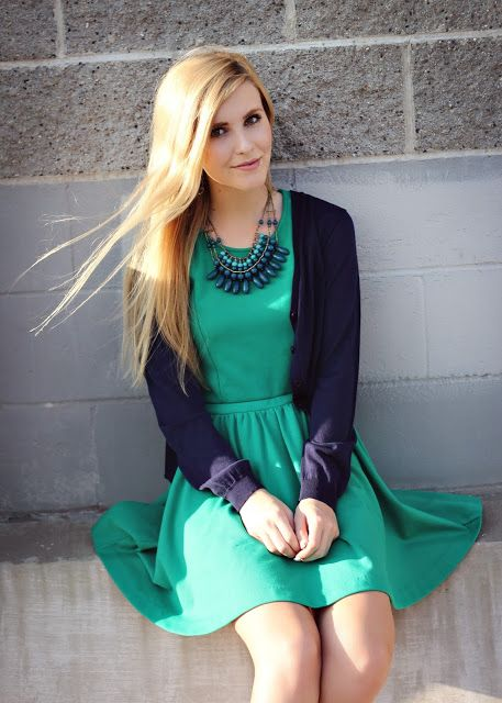Love the colors, the dress, and the cardigan (although would choose a different necklace)