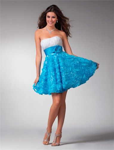 Prom dresses 1537  Blue shorts Strapless dress and Short prom ...