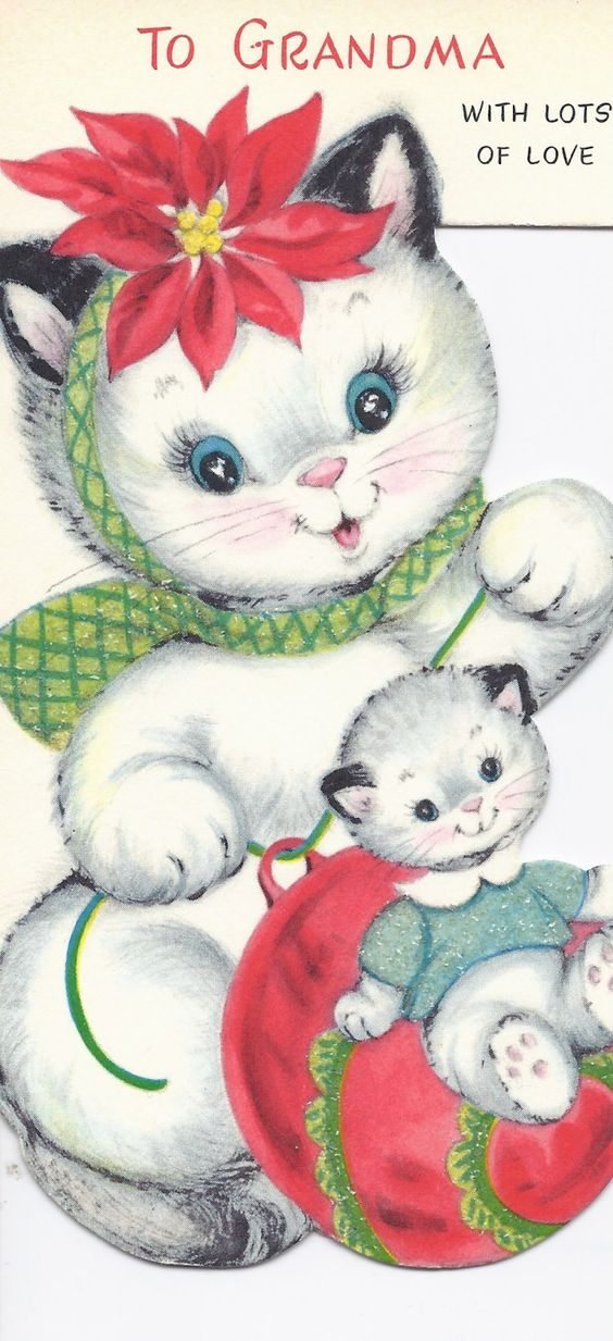 C447 Vintage Christmas Greeting Card - by Gibson - to cousin. $4.00, via Etsy.