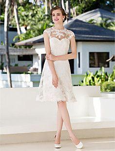 vestido de uma linha princesa jóia na altura do joelho de ca... – BRL R$ 314,85
