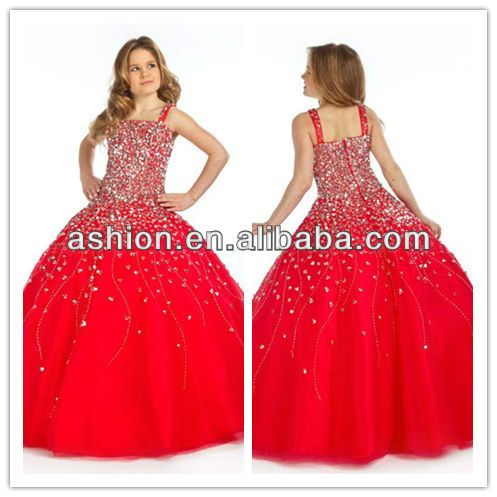 FG-037 Fancy hand beaded ball gown girl dresses red long one piece ...