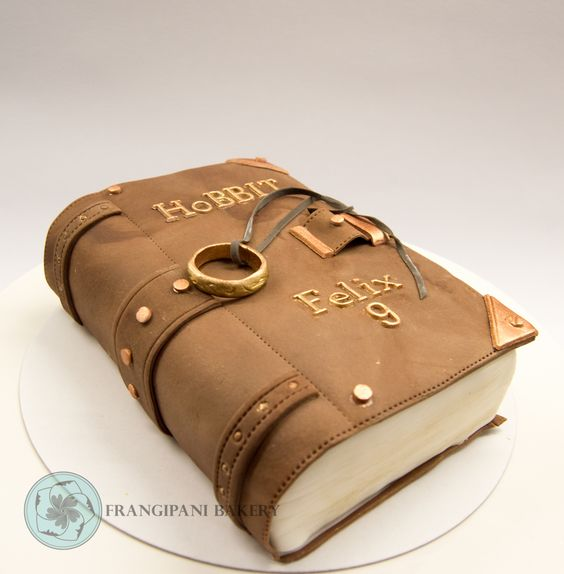 Hobitti book cake     #hobbit   #book #cake   #leatherbook   gold   #bronze…