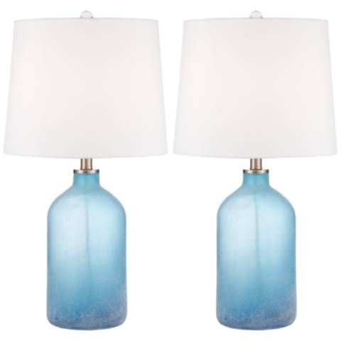 Aston Blue Frosted Glass Table Lamps Set Of 2 14x86 Lamps Plus Blue Glass Lamp Table Lamp Sets Glass Table Lamp