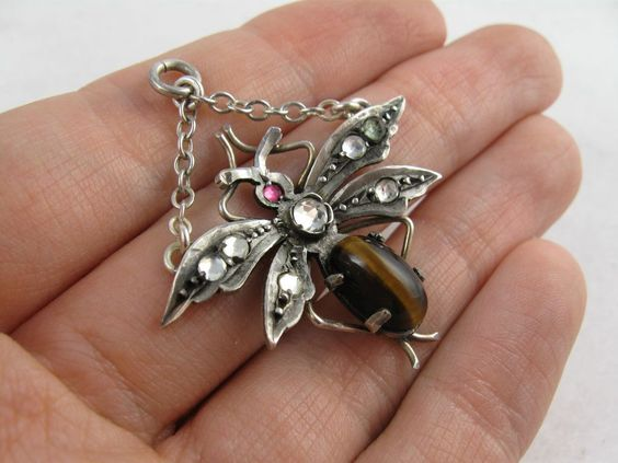 Antique Victorian Silver, Tiger's Eye & Paste Fly Pendant from blackwicks on Ruby Lane