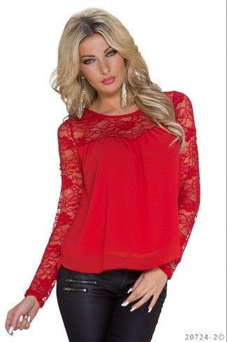 Σιφόν μπλούζα με δαντέλα - Κόκκινο