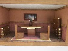 Dollhouse art deco style dinning room suite roombox decorated and furnished