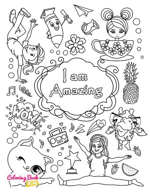 I Am Amazing Coloring Page For Girls In 2020 Coloring Books Book Girl Coloring Pages