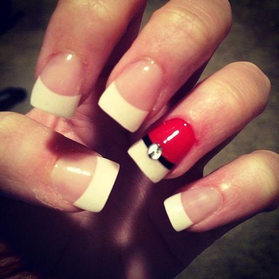 Pokeball nails. Cute for Halloween!