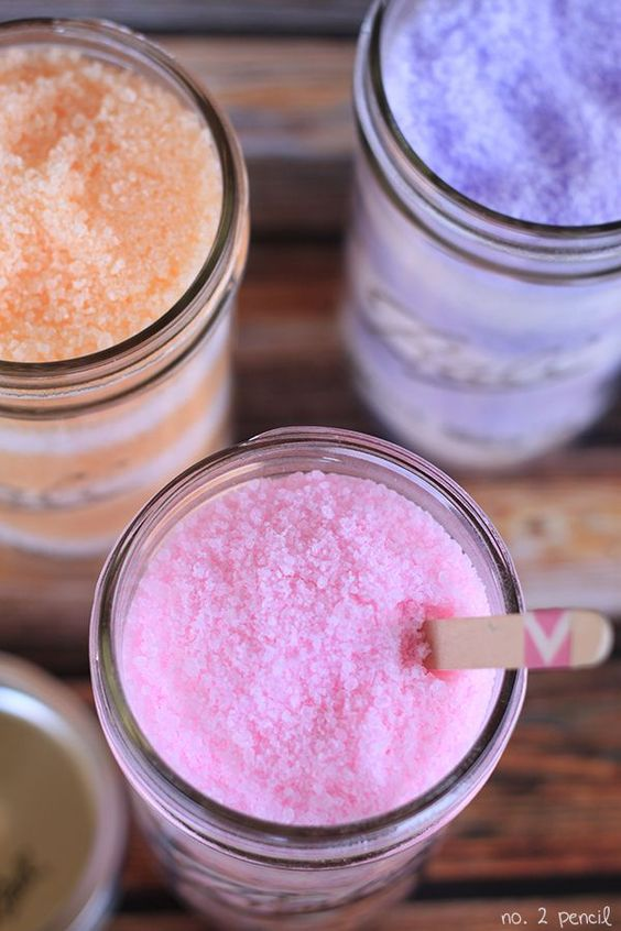 Homemade Bath Salts - 3 c sea salt or kosher salt, 5 c Epsom salt, 1 c baking soda, gel food coloring, essential oil.