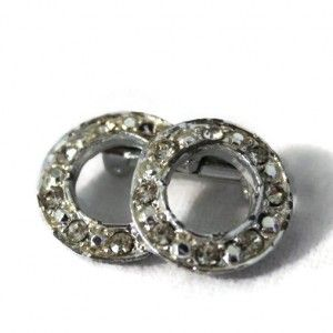 Small Double Circle Silver Rhinestone Brooch