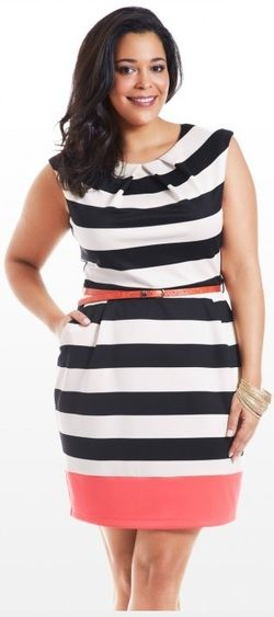 Fashion to Figure, plus size dress, stripes: