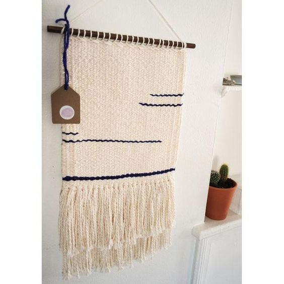 Image of Cream & Indigo Woven Wall Hanging