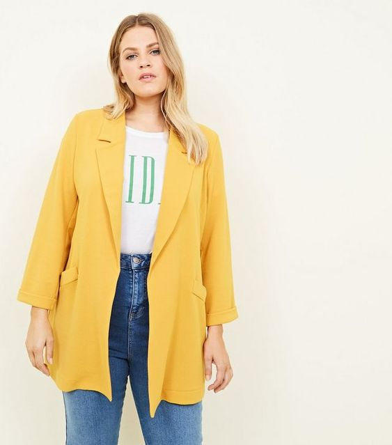 Curves - Blazer stretch à motif hachuré jaune moutarde | New Look