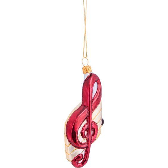Hanger Muzieknoot Glas, Rood