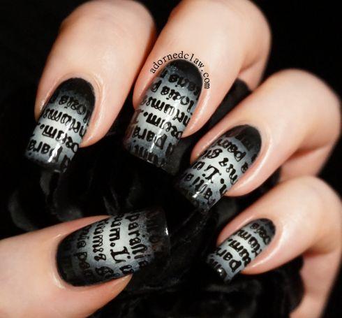 Gothic Text Gradient Nail Art