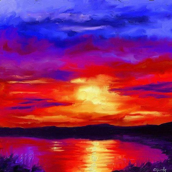 sunset+paintings | Art: Sunset by Artist Craig Gourley