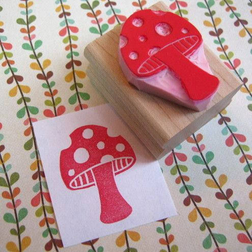 Spotty Toadstool - Hand carved rubber stamp by ... - Folksy