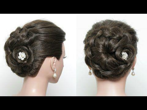 Braided Flower Bun Easy Updo Hairstyle For Long Hair Tutorial Youtube Hair Styles Easy Updo Hairstyles Short Hair Updo