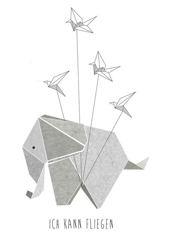 """Digitaldruck """"Ich kann fliegen"""" mit niedlichem Elefant / artprint cute elephant """"i can fly"""" by Haus-nr-26 via DaWanda.com"""