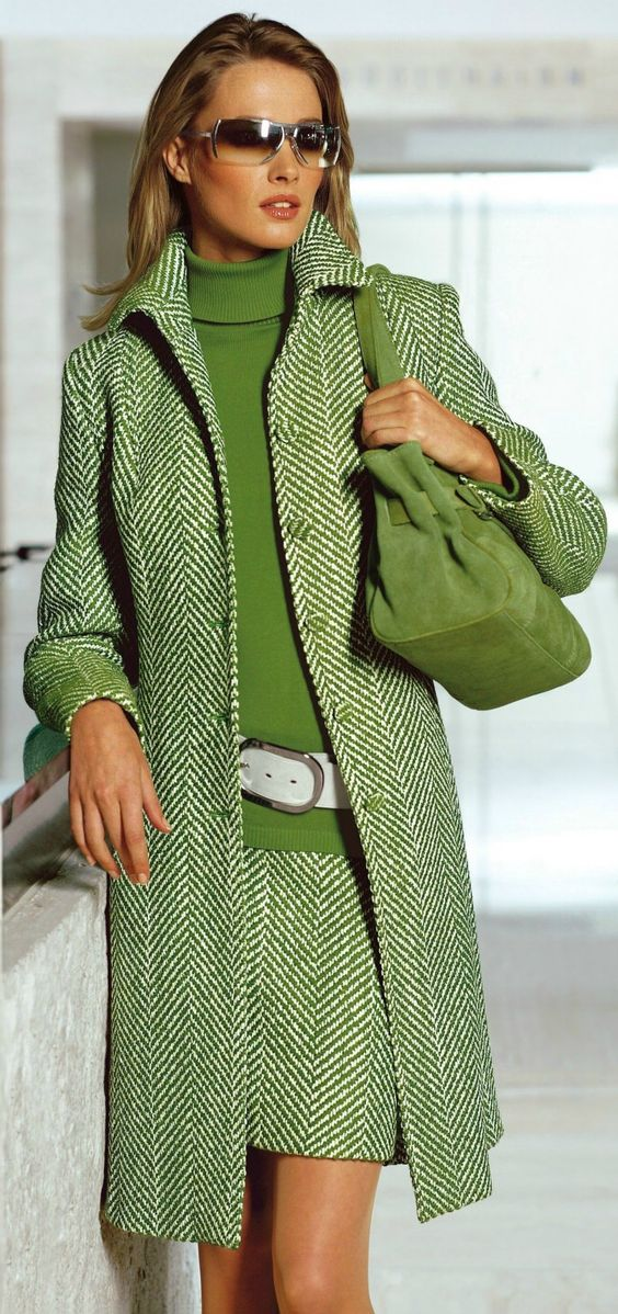 Love this outfit! Green Herringbone Coat and Skirt, Green Turtleneck with Wide White Belt placed low over the hips, Green Shoulder Bag