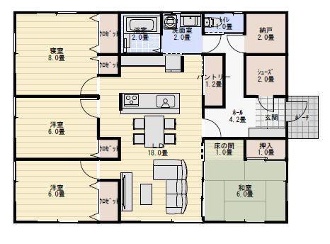 33坪4ldkシューズクロークのある平屋の間取り 平屋間取り 35坪