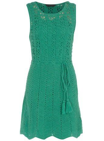 Green crochet drawstring dress