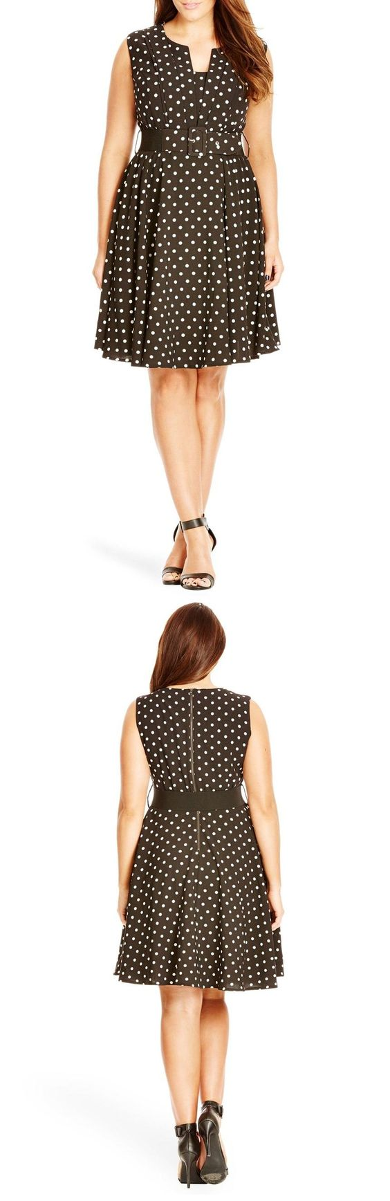"""City Chic 'Vintage Veronica' Dot Print Belted Fit & Flare Dress (Plus Size) available at #Nordstrom. Crisp pleats bring Deco-inspired structure to the notch-neck bodice of a sleeveless fit-and-flare dress. A dotted print turns up the charm, and a wide belt focuses the eye on the narrowest part of the figure. 38 1/2"""" length (size X-Small). Exposed back-zip closure. Notched neck. Sleeveless. Removable elasticized belt. 95% polyester, 5% elastane."""