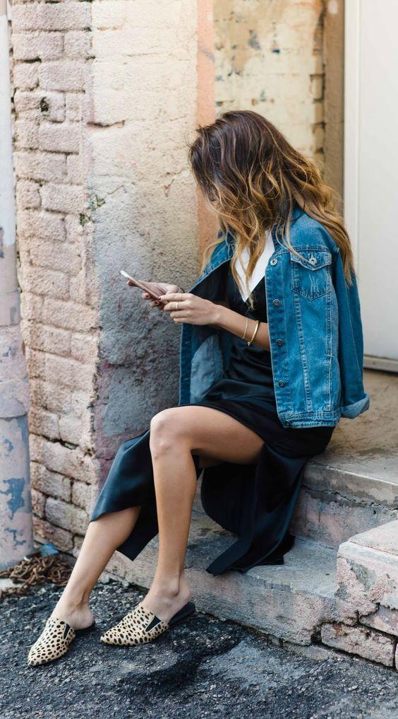 how to wear silk slip dress in daytime