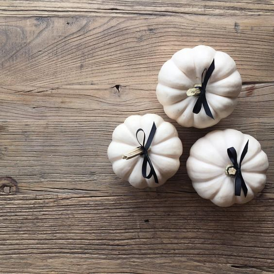 """SARAH@HOUSEOFPROPER.COM on Instagram: """"priming the pumps! mini white pumpkins all dressed up - add to every guests seat with a message or monogram - or layer + build for a festive centrepiece - happy thanksgiving"""""""