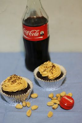 Coca-Cola Cupcakes with Salted Peanut Butter Frosting!