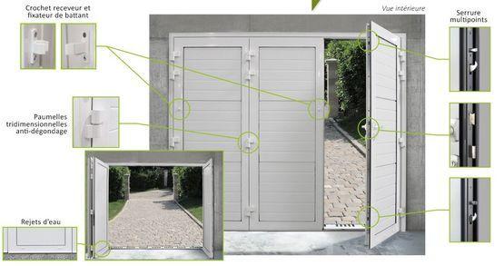 Vantal 3 Vantaux Porte De Garage A Ouverture Battante Remplissage 2 3 Haut Vitre Batiproduuits En 2020 Porte Garage Garage Ouverture