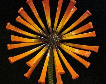 Whimsical Handcrafted Welded Metal Art Masonry Nail Flower Sculpture, Industrial, Steel, Rebar, Junk Art, Garden Art, Bloom, Desktop, Gift