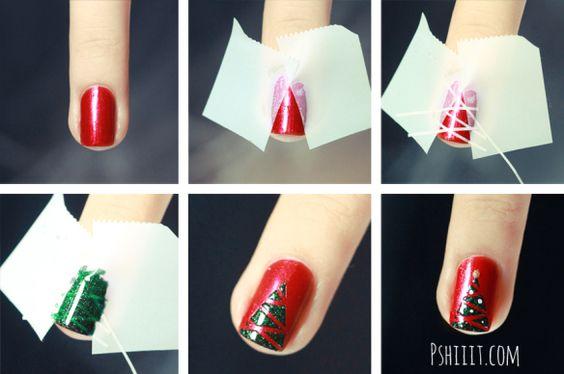 Nail art Christmas Tree tuto by pshiiit