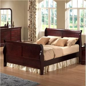 Similar To What Our Sleigh Bedroom Set Looks Like Love The Cherry Wood Design Home Interior