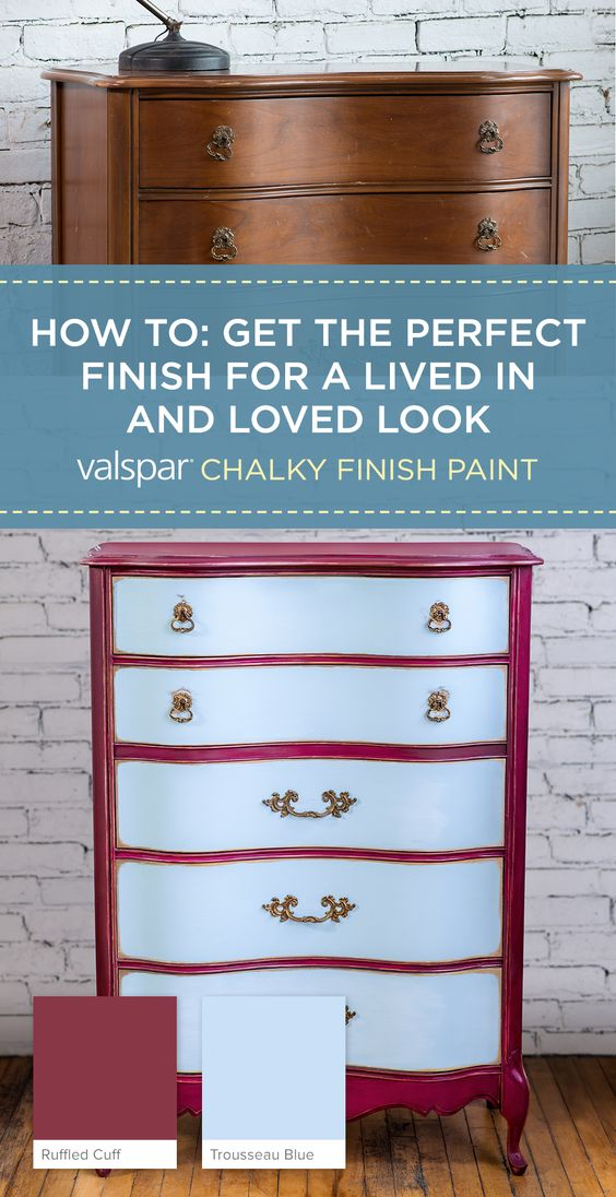 get the perfect finish for a lived in and loved look with valspar chalky finish paint and a. Black Bedroom Furniture Sets. Home Design Ideas
