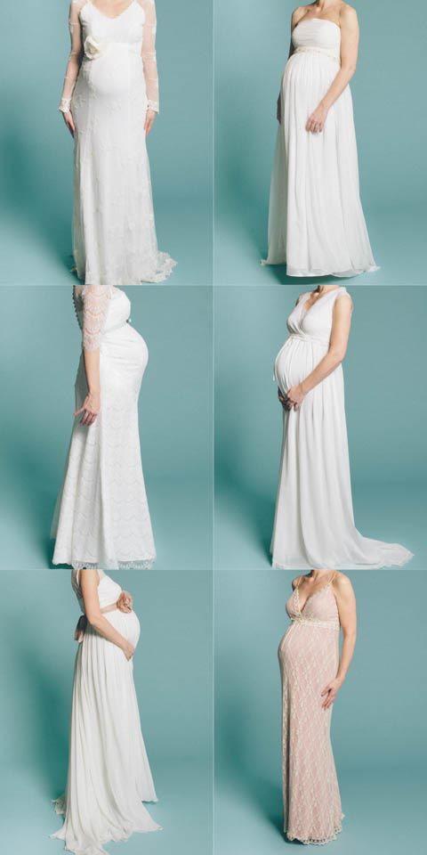 Lange Brautkleider die sich wunderbar auch für schwangere Bräute eignen. Für werdende Mamis, die keine typische Umstandsmode suchen.