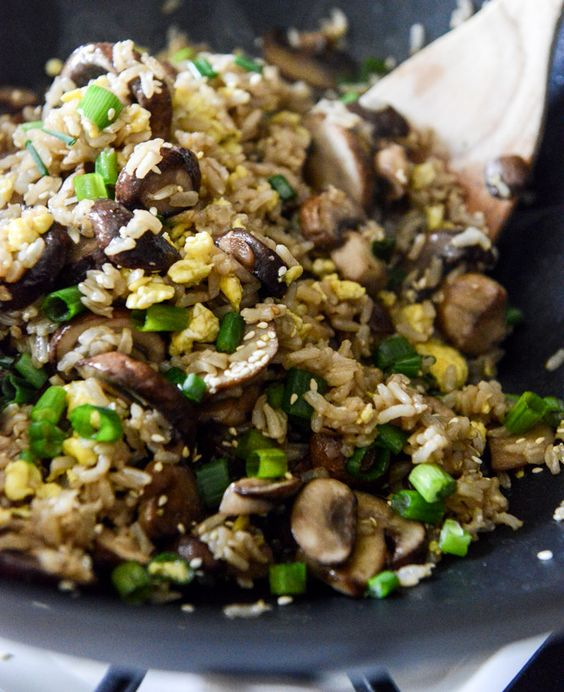 30 minute portobello fried rice  Try cooking the mushrooms for a little longer and adding the onion, garlic and grated ginger before the mushrooms get done cooking.