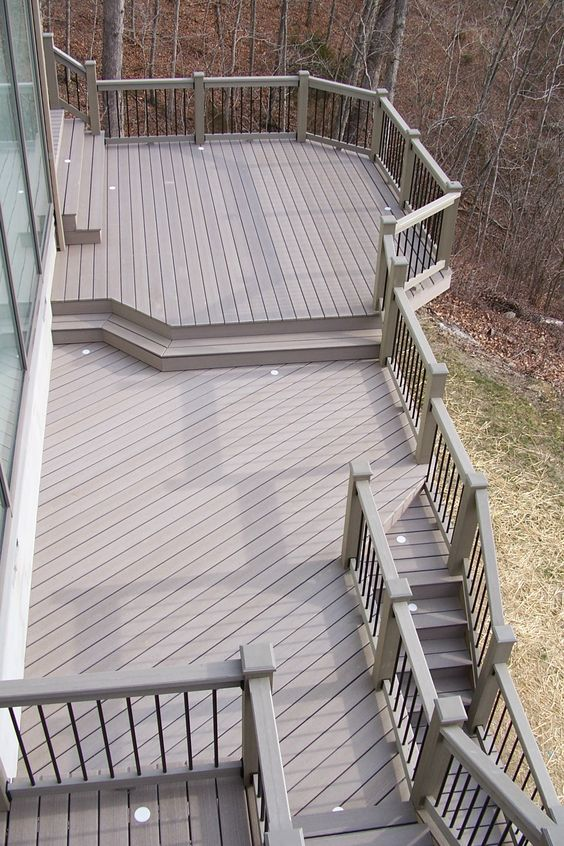 Best Multi Level Gray Timbertech Composite Deck With Black 400 x 300