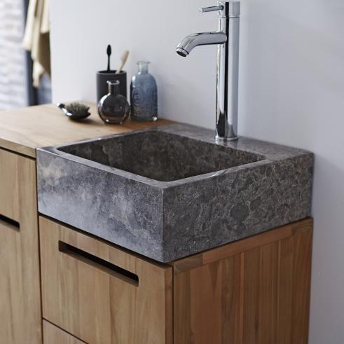 Waschtisch Aus Teak Mit Marmor Waschbecken 85 Line Marmor