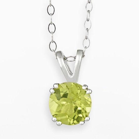 """Sterling Silver Peridot Pendant, Women's, Size: 18"""", Green"""