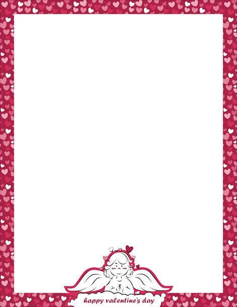 Page Border For Valentine S Day With Hearts And An Angel