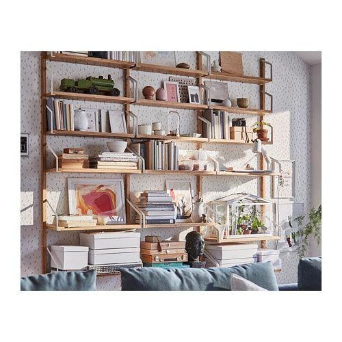 Svalnas Wall Mounted Shelf Combination Bamboo 76x9 7 8x69 1 4 Wall Mounted Shelves Shelves Best Leather Sofa