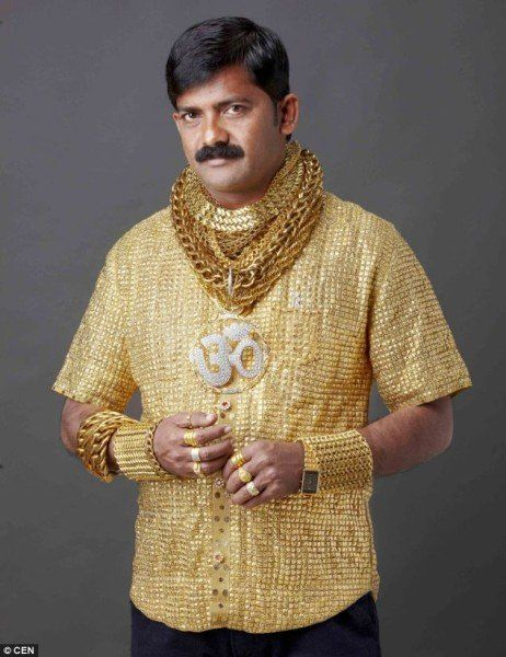 The wealthy man spent about £14,000 (US $21,337) to have the shirt made. Apparently, his main purpose was to attract female attention.  15 goldsmiths spent 16 hours a day to carefully weave gold threads and put in six Swarovski crystal buttons. The shirt was completed in two weeks.  Scrap gold pieces were made into cuffs, rings, and a belt to match the shiny, dazzling outfit.