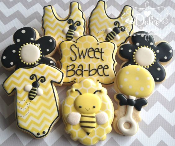 One Dozen (12) Bee Themed Baby Shower Decorated Sugar Cookies
